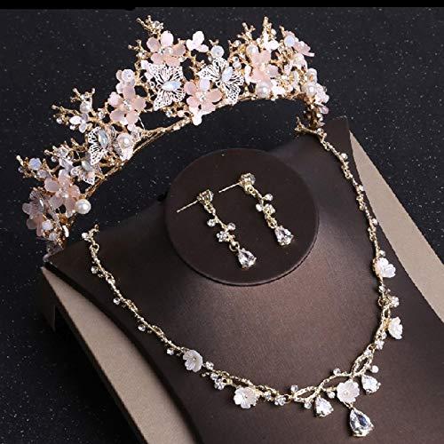 XUEKE Conjunto de joyas de cristal de mariposa de oro conjuntos de diamantes de imitación...