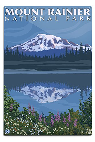 Lantern Press Mount Rainier, Washington, Reflection Lake (12x18 Aluminum Wall Sign, Wall Decor Ready to Hang)