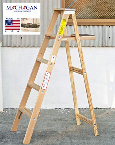5 ft Wood Step Ladder with 200 lb. Load Capacity