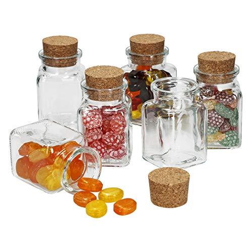 MamboCat Lot de 6 pièces Lot de Verres à Bonbons + Bouchon en liège - 150 ML - Boîte de Conservation réutilisable pour Le thé, Les Herbes et Les épices