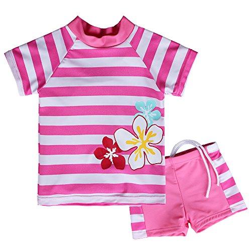 HUAANIUE Niñas Cute Bañador Rojo y Blanco Rayas impresión Floral Swimwear