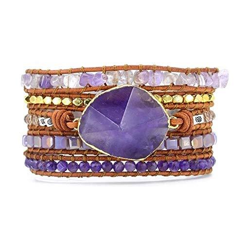 XYBB Womens Wrap Piedras Naturales Brazalete de Amatista Charm 5 filamentos Wrap Pulseras Pulsera Hecha a Mano (Color : Purple)