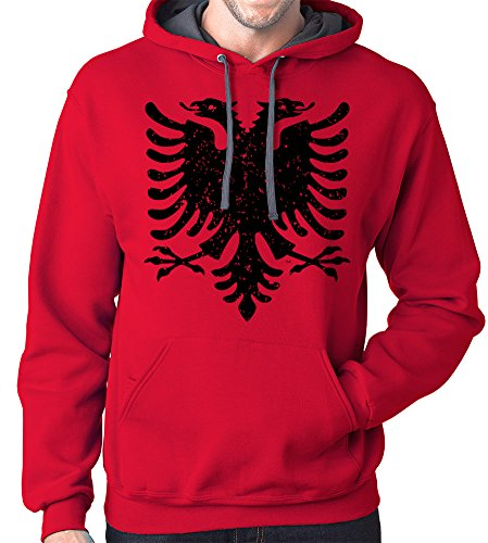 Albanian Eagle Hoodie Sweatshirt, Medium, Red