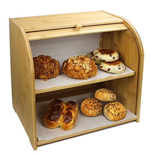 SMIBUY Bamboo Bread Box, Large 2 Layer Bread Storage Bin for Kitchen Countertop, Farmhouse Style Wood Food Container with Removable Shelf & Roll Top Lid, ASSEMBLY Required