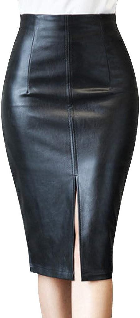 Gergeos Women's Faux Leather Midi Skirt High Waist Slim Split Office Knee Length Skirt