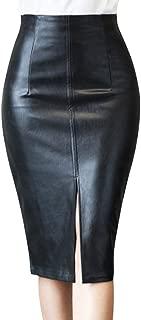 Remanlly Womens High Waist Leather Body-con Pencil Skirt Slim Split Skirt Knee Length Office Business Skirt