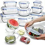 24 Piece Glass Food Storage Containers with Lids + Microwave Covers, BPA-Free, 100% Leak-proof and...