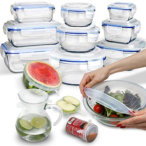 24 Piece Glass Food Storage Containers with Lids + Microwave Covers, BPA-Free, 100% Leak-proof and Airtight, Meal Prep, Oven/Dishwasher/Microwave/Freezer Safe
