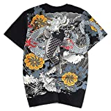 Verano Nuevo Hombres Camiseta Pesada Industria Dibujo Bordado Lotus koi Five-Point Manga Corta t-shirt Hombres Negro Negro ( L