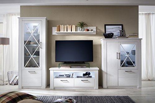 trendteam smart living Wohnzimmer Anbauwand Wohnwand Wohnzimmerschrank Georgia, 365 x 205 x 47 cm in Pinie Weiß Struktur Dekor im Landhausstil