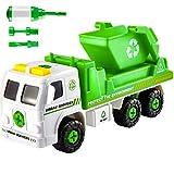 HERSITY Camión de Basura Montar y Desmontar Coches con Sonidos Vehiculos Juguete Regalos para Niños 3 4 5 Años