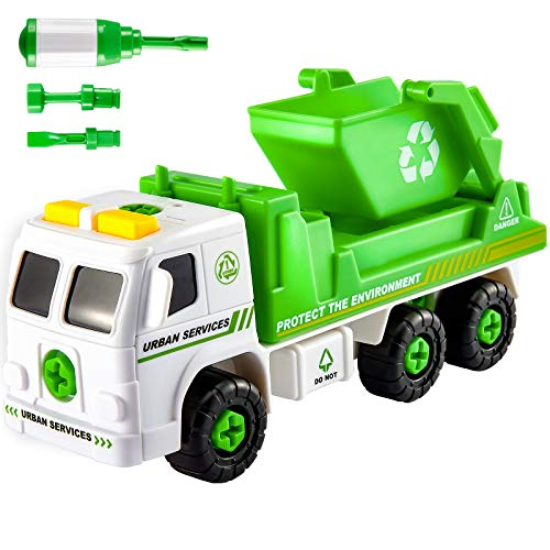 HERSITY Müllauto Montage Spielzeug Auto mit Sound, Müllwagen LKW zum Schrauben Kinder Fahrzeuge Kinderspielzeug Geschenk ab 3 4 5 Jahre Junge Mädchen