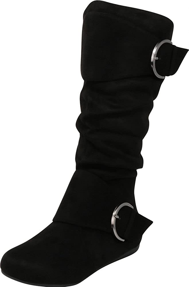 Cambridge Select Women's Closed Round Toe Slouch Double Buckle Flat Mid-Calf Boot