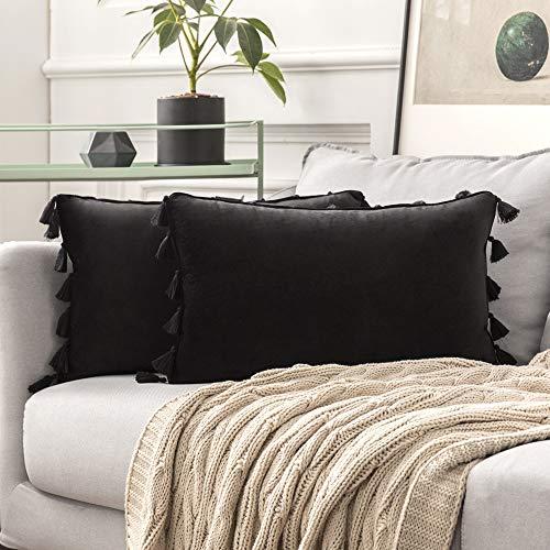 MIULEE 2er Set Samt Kissenbezug Quaste Kissenhülle Dekorative Tassel Dekokissen mit Verstecktem Reißverschluss Sofa Schlafzimmer Auto 12 x 20 Inch 30 x 50 cm Schwarz