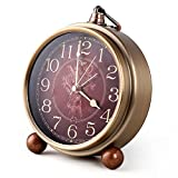 Dasike Metal Golden Alarm Clock, European Style Retro, Non Ticking Quartz Movement, Battery Operated, HD Glass Desk Clock for Living Room Bedroom and Indoor Decoration (Red)