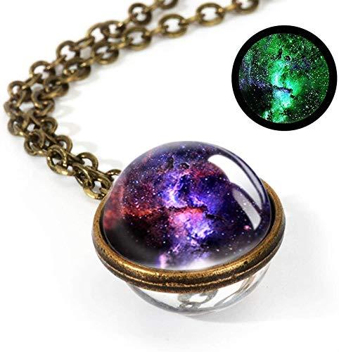 XCHJY Joyería Nebulosa Galaxy Colgante de Doble Cara Collar Universo Planeta Joyería Vidrio Arte Imagen Declaración Hecha A Mano Collar (Size : 36)