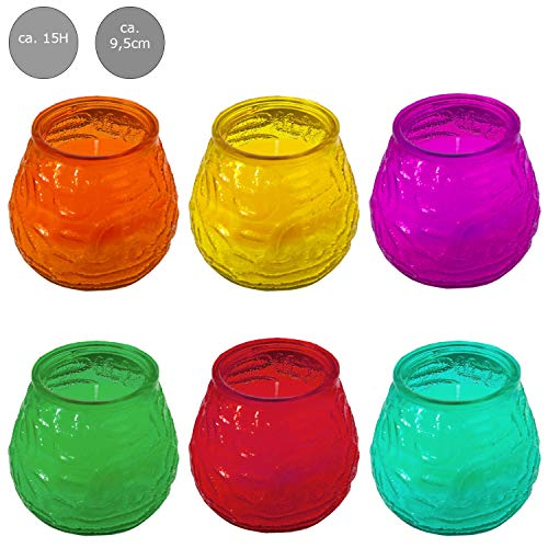 Mojawo 6 stuks XL Citronella muggenbescherming geurolie citroenen geurkaars in glazen kaars 9,5 x 9,5 cm brandduur per kaars ca. 15 uur