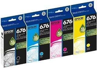 Genuine Epson 676XL DURABrite Ultra Color (Black,Cyan,Magenta,Yellow) Ink Cartridge 4-Pack (Includes 1 each of T676XL120,T676XL2