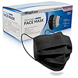 MagiCare Made in USA Masks - Black Face Masks Disposable - Premium 3 Ply Face Mask for Adults - Comfortable, Soft, Breathable - Black Face Mask American Made - 50ct Box