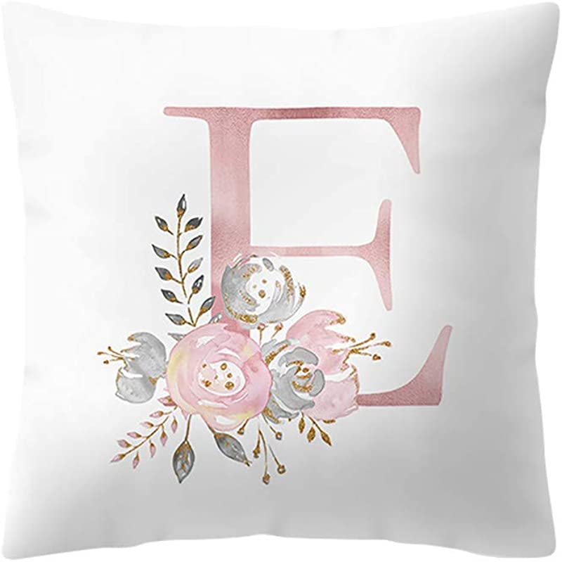 XIMOMO Pillowcases For Room Decoration Floral Print With Alphabet Pillow Cover Home Decorative Throw Pillows