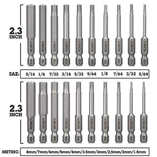 REXBETI 20 Piece Hex Head Allen Wrench Screwdriver Bit Set, SAE Metric 1/4 Inch Hex Shank S2 Steel Magnetic 2.3 Inch Long Drill Bits with Storage Box