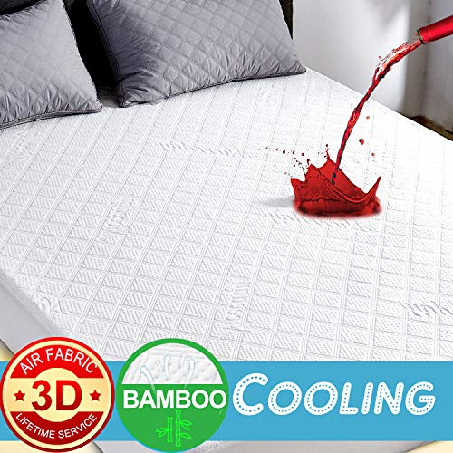 Waterproof Mattress Protector Cal King, Cooling Bamboo Waterproof Mattress Protector, Ultra Soft 3D Air Fabric Mattress Pad Cover Hypoallergenic Waterproof Sheets -Cotton (Ivory(Premium 3D), CAL KING)