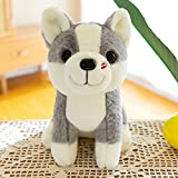 Anyinghh 25cm pequeño Lindo Husky muñeca de Peluche de Juguete muñeca de Trapo muñeca niño Super Lindo Perro Sentado Postura Regalo de cumpleaños 25 cm Gris