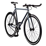 Big Shot Bikes | Kyoto Gray | Fixie Track Bike | Single Speed or Fixed Gear | Slate Gray & Black Accents | for Men & Women | Rider Height 5'7' to 5'11' | Medium