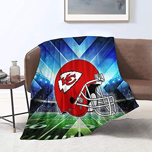 Manta suave de microfibra con diseño de equipo de fútbol americano Kan-sas-City-Chi-efs, manta de franela de forro polar para sofá, cama individual (152,4 x 127 cm)