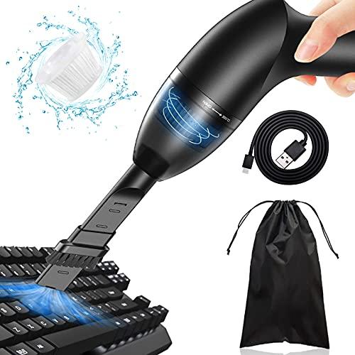 [2021進化版]キーボード掃除 PCキーボード掃除機 ハンディークリーナー コードレス ミニ 卓上クリーナー エアダスター 超強吸引力 USB充電式 LEDライト 軽量 小型 OA掃除機 家/オフィス/車用 日本語説明書付き