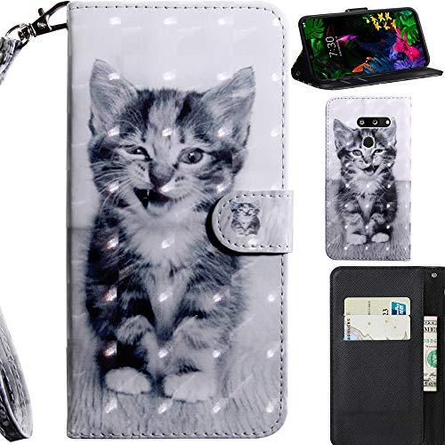 DodoBuy 3D Hülle für LG G8 ThinQ, Flip PU Leder Schutzhülle Handy Tasche Brieftasche Wallet Hülle Cover Ständer mit Kartenfächer Trageschlaufe Magnetverschluss - Katze