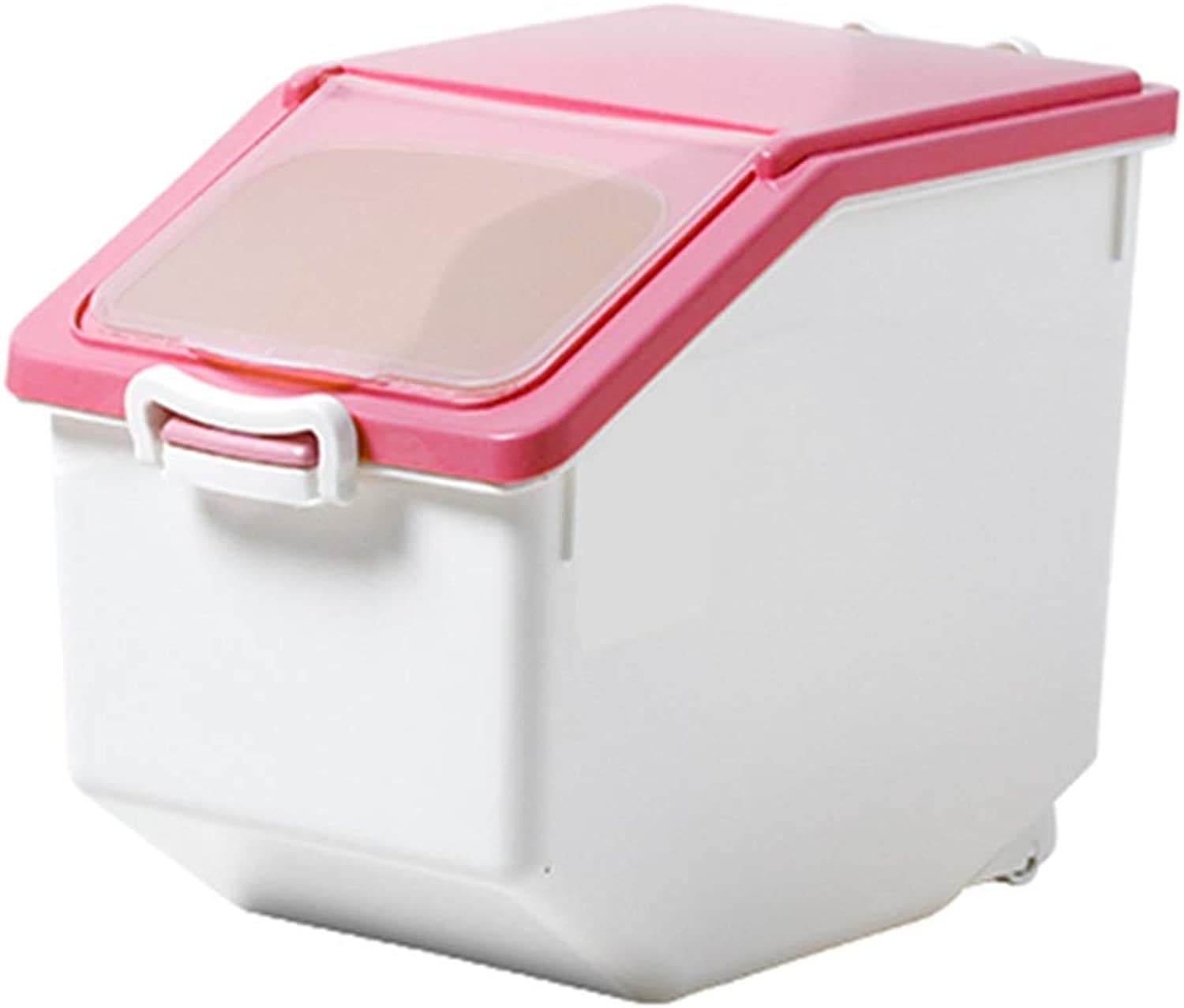 Food Storage for Dogs, Transparent Cover with Lock Seal Pet Dry Feed Container Cat Box Bired Seed Bin 47.5kg (color   Pink, Size   45kg)