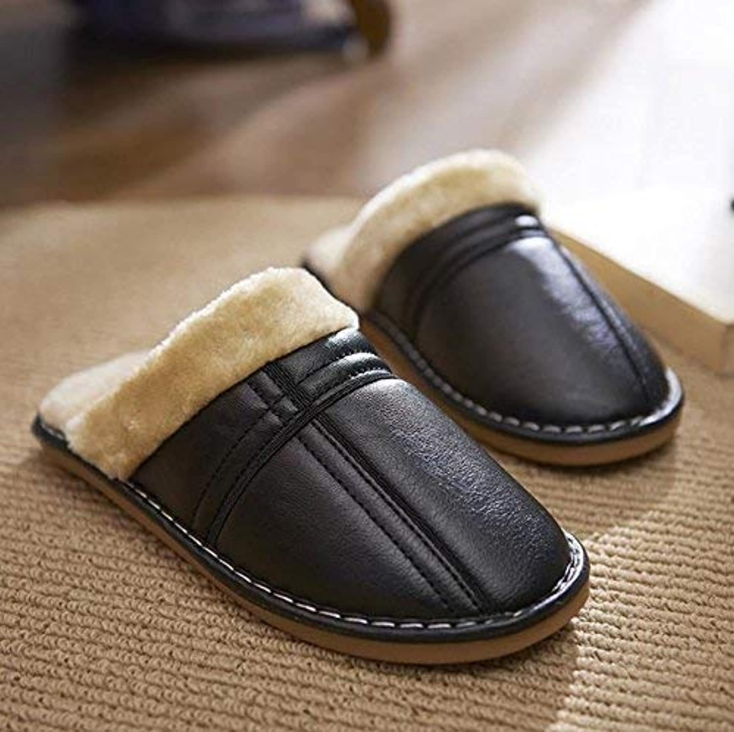 Men 's Home Leather Slippers Indoor Keep Warm Casual Slippers Black Large Soild color Personality Quality for Men