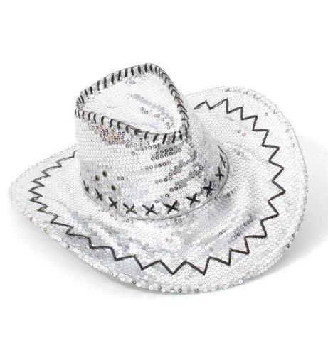 38564 Carnaval chapeau de cowboy chapeau de fête à paillettes argenté neuf/emballage d'origine