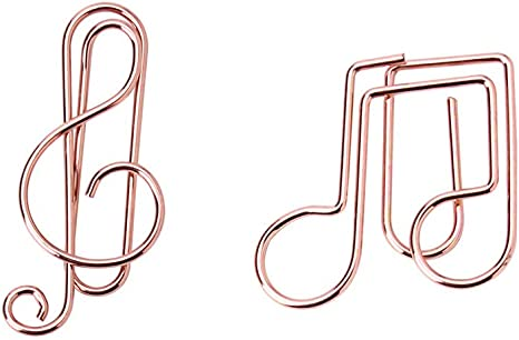 Treble Clef Symbol and Music Note Shape Paper Clips with Clear Storage Box, 20pcs in Rose Gold And Yellow Gold