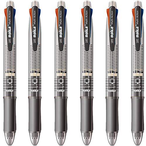 Ipienlee 4 + 1 Multifunctional Pens 4 Color 0.7 mm Ballpoint Multi Pen and 0.5 mm Mechanical Pencil in One Pen, Pack of 6 (4+1)