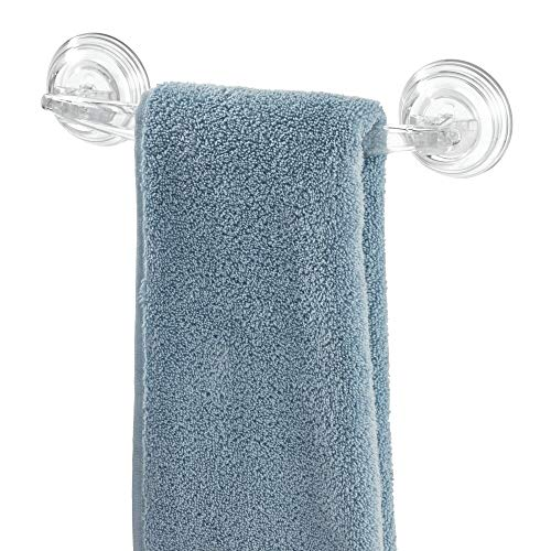 iDesign 52620 Plastic Power Lock Suction Towel Bar, Holder for Bathroom, Kitchen, Laundry Room, Mudroom, 11.2' x 5.65' x 2.35', Clear