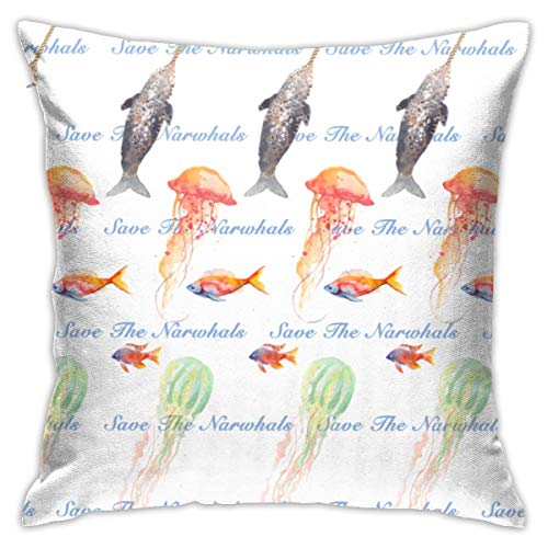 Genertic Throw Pillow Covers Pillowcase Pillow Sham Decor Cushion Cover Save The Narwhals Vintage Whales Unicorn Slipcovers Square For Home 18x18 Inch 45 Cm Only Cover No Insert
