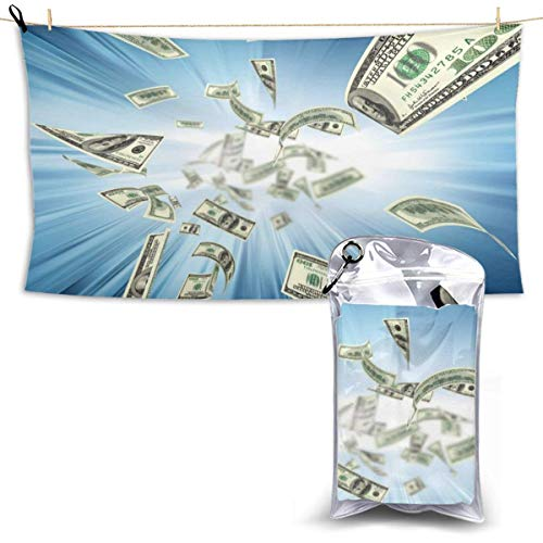 XCNGG Quick Dry Bath Towel, Absorbent Soft Beach Towels, Falling Money for Camping, Backpacking, Gym, Travelling, Swimming,Yoga 28.7'' X 51''