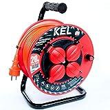 KEL -LECTRIC Avvolgicavo per aeratori con PVC da 20 m – Cavo 3 x 1,5 mm2, 230 V/16 A, cavo di prolunga in plastica con 4 contatti di protezione, presa IP44