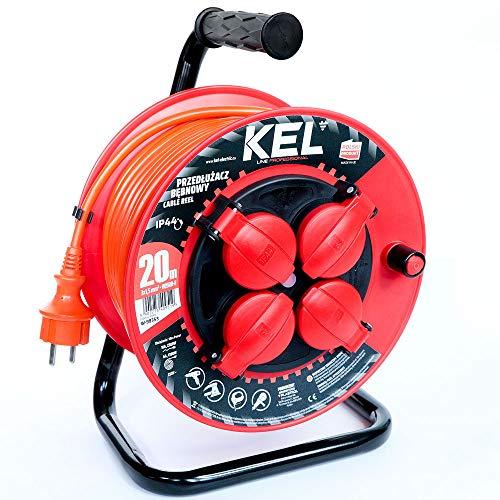 KEL-ELECTRIC Kabeltrommel fuer Gaerten mit 20 m PVC - Kabel 3x1,5 mm2, 230 V/16A -Verlängerungskabel -Kunststoffrommel mit 4 Schutzkontakt Steckdosen-IP44
