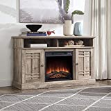 BELLEZE 48' TV Stand Console W/Media Shelves for TVs up to 50' Wide with Fireplace and Remote Control, Ashland Pine