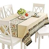 Qualsen Mantel Antimanchas Rectangular Impermeable, PVC, fácil de Limpiar, Manteles Mesa Decorativo para Hogar Comedor del Cocina, Beige,137 x 200 cm