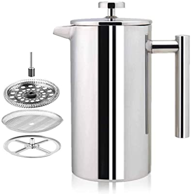 Stainless Steel French Press Coffee Maker - Double Walled 34oz Espresso & Tea Maker - 100% 18/10 Stainless Steel,Rust-Free, Dishwasher Safe (1000ML)