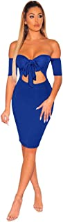 Solid Front Tie Cutout Off Shoulder Club Dress Women Sexy Slash Neck Short Sleeve Sheath Mini Party Dress Outfit