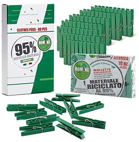 Remake 80 Mollette Bucato Ecologiche Plastica 95% Riciclata. Made in Italy. Misura Grande. Ideali per Appendere Panni Bucato Esterno. Resistenti e Antivento