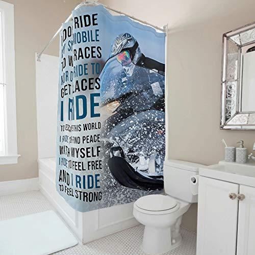 NiTIAN Duschvorhang I Don't Ride My Snowmobile Printed Anti-Schimmel Wasserdicht Vorhang Badewannenvorhang für Badezimmer White 180x180cm