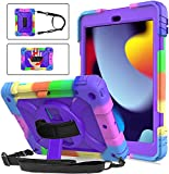 """BMOUO iPad 9th Generation Case, iPad 8th/7th Generation Case, iPad 10.2 Case,Hybrid Shockproof [360 Rotating Stand] [Hand Strap] [Pencil Holder] Kids Case for New iPad 10.2"""" 2021/2020/2019 - Purple"""