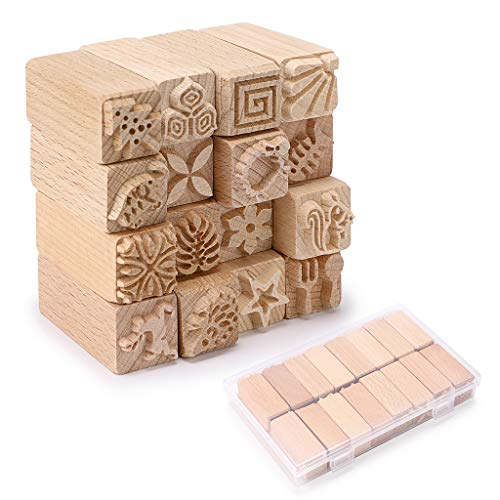 OwnMy Set of 16 Clay Modeling Pattern Stamp Kit, Wooden Clay Pottery Stamps Pottery Tool Wood Block Stamp, Clay Rolling Pin Textured Hand Roller Wooden Handle Pottery Tools Set