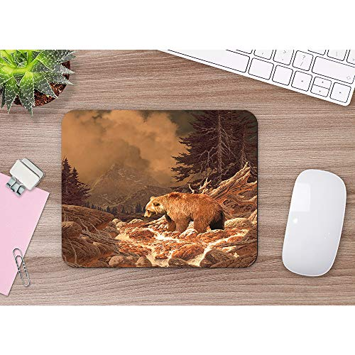 Moslion Grizzly Bear Mouse Pad Rocky Mountains Wildlife Animal Canyon Forest Nature Outdoors Gaming Mouse Mat Non-Slip Rubber Base Thick Mousepad for Laptop Computer PC 9.5x7.9 Inch Photo #2